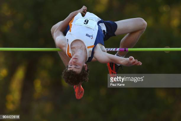 Joel Baden of Victoria competes in the men's high jump during the Jandakot Airport Perth Track Classic at WA Athletics Stadium on January 13 2018 in...