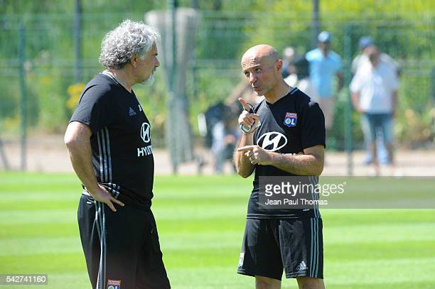 Joel BATS and Antonio PINTUS of Lyon during First Session Training of Olympique Lyonnais at Centre Tola Vologe on June 24 2016 in Lyon France