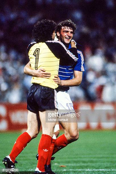 Joel Bats and Yvon Le Roux of France during the Semi Final Football European Championship between France and Portugal Marseille France on 23 June 1984
