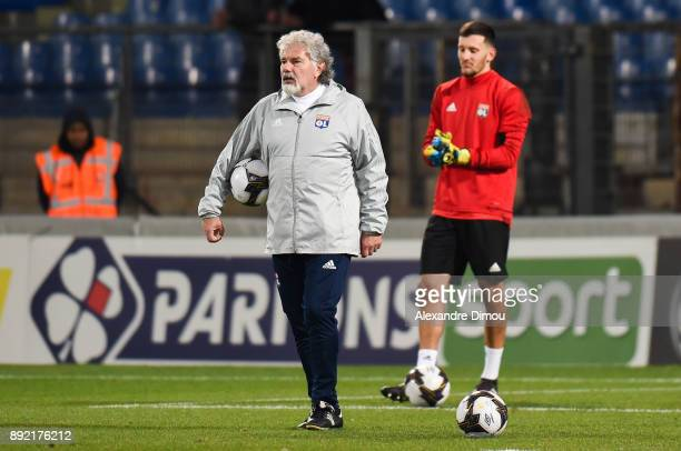 Joel Bats assistant Coach and Mathieu Gorgelin of Lyon during the french League Cup match Round of 16 between Montpellier and Lyon on December 13...
