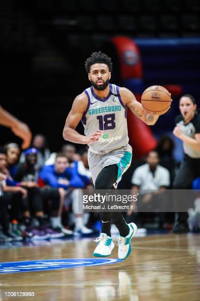 Joel Berry II of the Greensboro Swarm dribbles the ball against the Long Island Nets during an NBA G-League game on March 8, 2020 at Nassau Veterans...