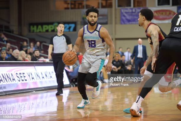 Joel Berry II of the Greensboro Swarm drives down the court during a G League game between the Erie BayHawks and the Greensboro Swarm at the Erie...