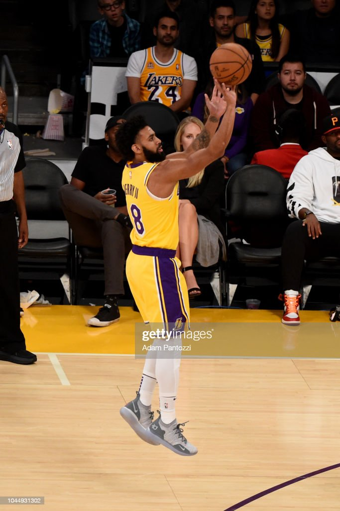 d92c16514ca Joel Berry II of the Los Angeles Lakers shoots the ball against the ...