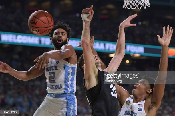 Joel Berry II of the North Carolina Tar Heels blocks a shot by Killian Tillie of the Gonzaga Bulldogs during the 2017 NCAA Men's Final Four...