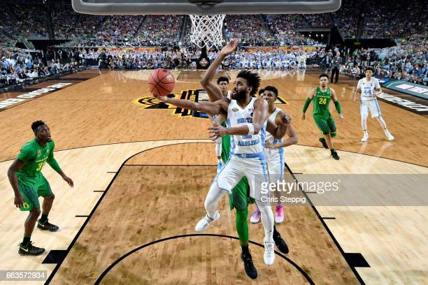 Joel Berry II of the North Carolina Tar Heels goes in for a layup during the 2017 NCAA Men's Final Four Semifinal against the Oregon Ducks at...