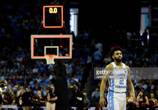 Joel Berry II of the North Carolina Tar Heels leaves the floor against the Texas AM Aggies during the second round of the 2018 NCAA Men's Basketball...