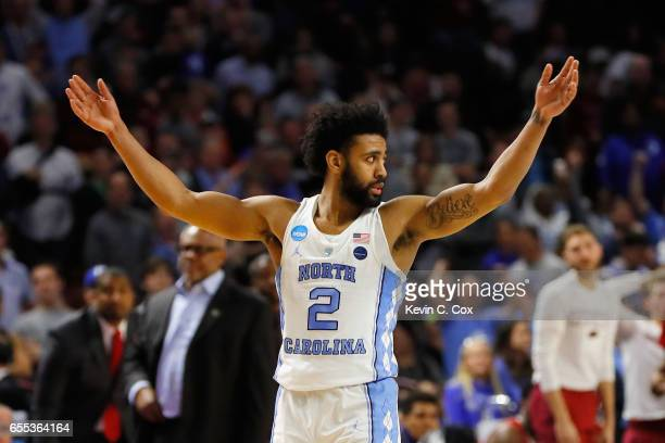 Joel Berry II of the North Carolina Tar Heels reacts after defeating the Arkansas Razorbacks 7265 in the second round of the 2017 NCAA Men's...