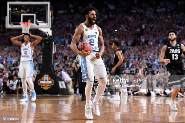 Joel Berry II of the North Carolina Tar Heels reacts as time expires during the 2017 NCAA Men's Final Four National Championship game against the...