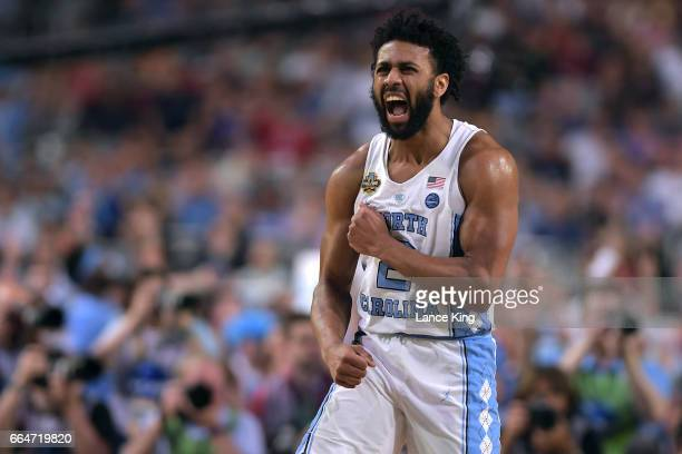 Joel Berry II of the North Carolina Tar Heels reacts following a play against the Gonzaga Bulldogs during the 2017 NCAA Men's Final Four Championship...