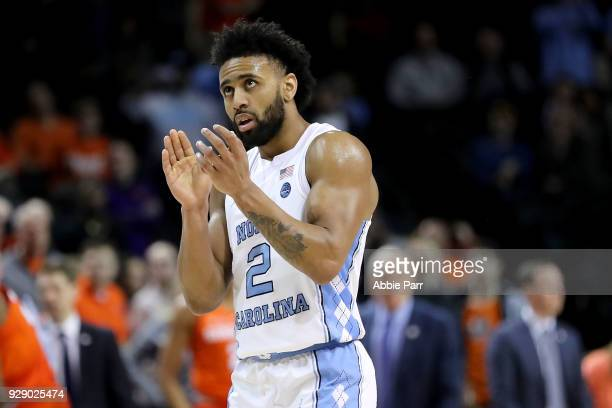 Joel Berry II of the North Carolina Tar Heels reacts in the second half against the Syracuse Orange during the second round of the ACC Men's...
