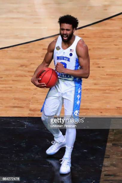 Joel Berry II of the North Carolina Tar Heels reacts late in the game against the Gonzaga Bulldogs during the 2017 NCAA Men's Final Four National...