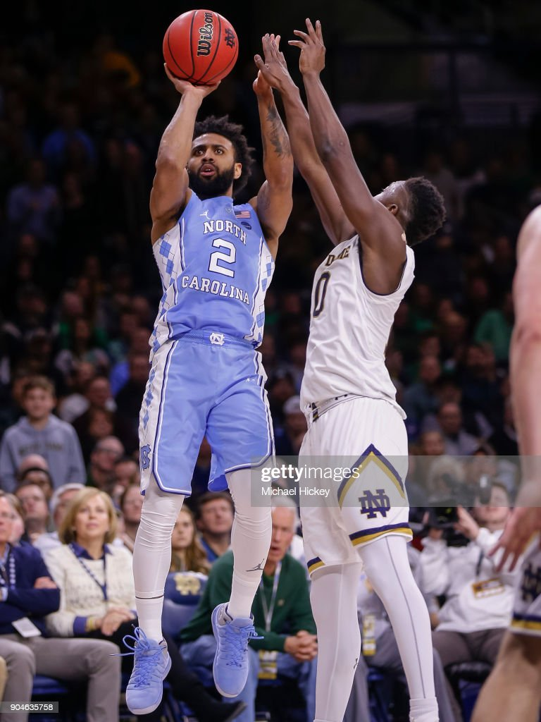 Joel Berry II #2 of the North Carolina Tar Heels shoots a jumper as TJ Gibbs #10 of the Notre Dame Fighting Irish defends at Purcell Pavilion on January 13, 2018 in South Bend, Indiana.