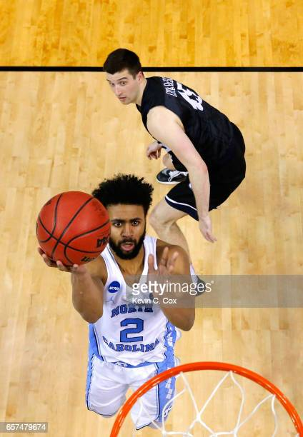 Joel Berry II of the North Carolina Tar Heels shoots against Andrew Chrabascz of the Butler Bulldogs in the second half during the 2017 NCAA Men's...