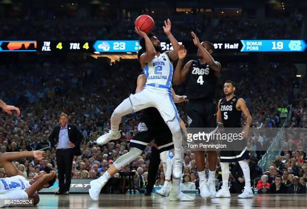 Joel Berry II of the North Carolina Tar Heels shoots against Jordan Mathews of the Gonzaga Bulldogs in the first half during the 2017 NCAA Men's...
