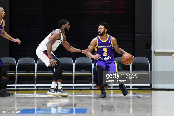 Joel Berry II of the South Bay Lakers handles the basketball against the Capital City GoGo on December 13 2018 at UCLA Heath Training Center in El...