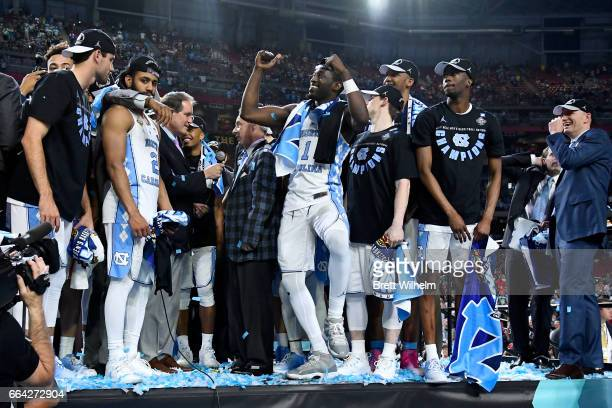 Joel Berry II Theo Pinson of the North Carolina Tar Heels and team mates celebrate after winning during the 2017 NCAA Photos via Getty Images Men's...