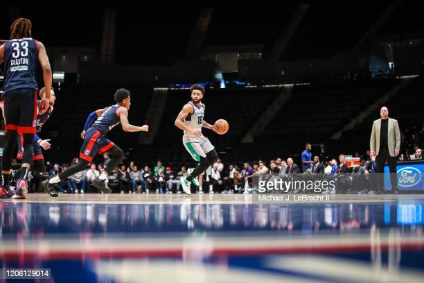 Joel Berry of the Greensboro Swarm dribbles the ball against the Long Island Nets during an NBA G-League game on March 8, 2020 at Nassau Veterans...