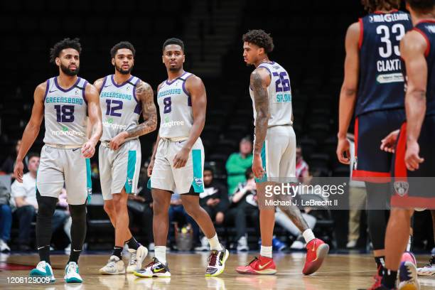 Joel Berry of the Greensboro Swarm leads the way against the Long Island Nets during an NBA G-League game on March 8, 2020 at Nassau Veterans...