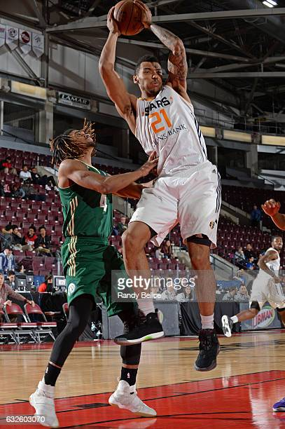 Joel Bolomboy of the Salt Lake City Star grabs a rebound against the Reno Bighorns as part of 2017 NBA DLeague Showcase at the Hershey Centre on...