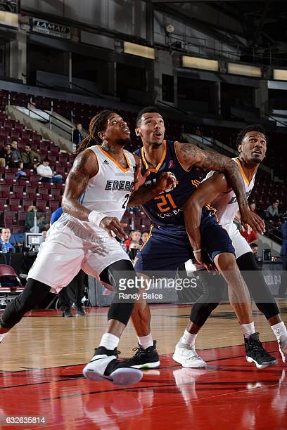 Joel Bolomboy of the Salt Lake City Stars fights for the rebound during the game against the Iowa Energy as part of 2017 NBA DLeague Showcase at the...