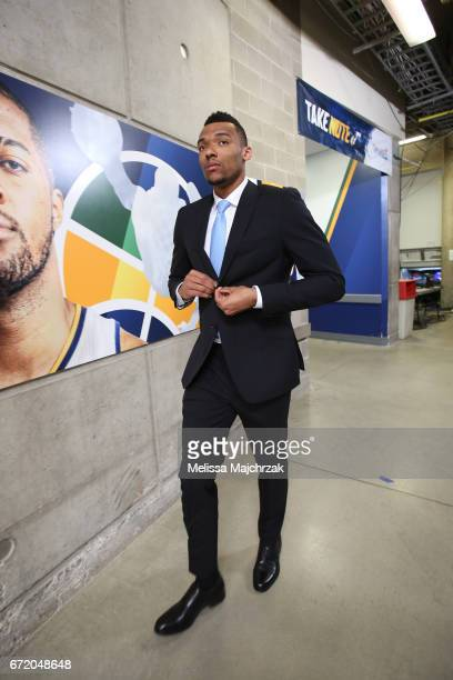 Joel Bolomboy of the Utah Jazz arrives for Game Four of the Western Conference Quarterfinals of the 2017 NBA Playoffs on April 23 2017 at...