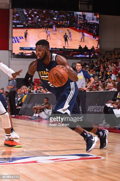 Joel Bolomboy of the Utah Jazz dribbles the ball during the 2017 Las Vegas Summer League game against the Phoenix Suns on July 12 2017 at the Cox...
