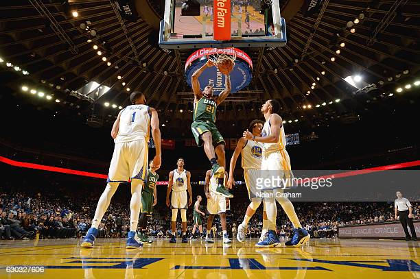 Joel Bolomboy of the Utah Jazz dunks against the Golden State Warriors on December 20 2016 at ORACLE Arena in Oakland California NOTE TO USER User...