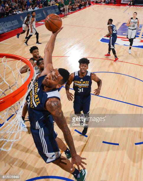Joel Bolomboy of the Utah Jazz dunks against the Los Angeles Clippers during the 2017 Las Vegas Summer League on July 9 2017 at the Cox Pavilion in...