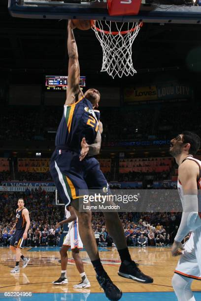 Joel Bolomboy of the Utah Jazz dunks the ball during a game against the Oklahoma City Thunder on March 11 2017 at Chesapeake Energy Arena in Oklahoma...
