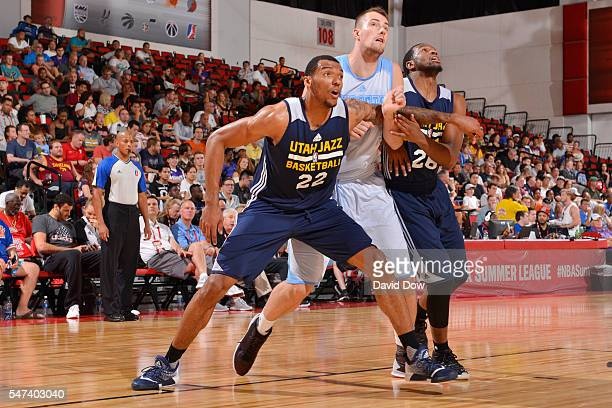 Joel Bolomboy of the Utah Jazz fights for position against the Denver Nuggets during the 2016 NBA Las Vegas Summer League game on July 14 2016 at the...