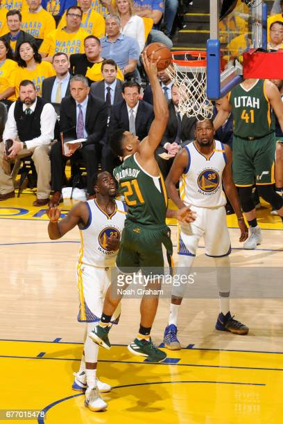 Joel Bolomboy of the Utah Jazz goes for a dunk during the game against the Golden State Warriors during Game One of the Western Conference Semifinals...