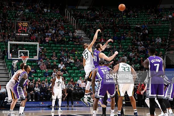 Joel Bolomboy of the Utah Jazz goes for the tip off against Kosta Koufos of the Sacramento Kings on December 21 2016 at EnergySolutions Arena in Salt...