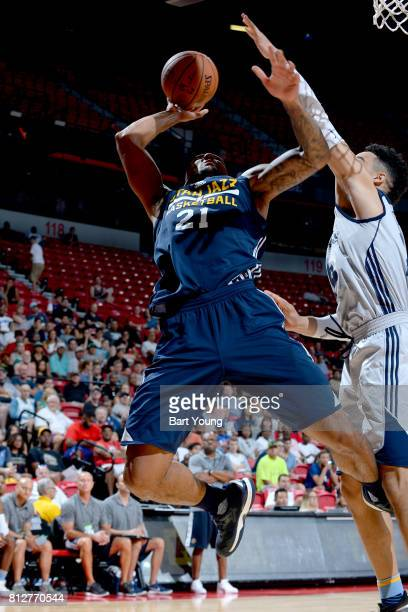 Joel Bolomboy of the Utah Jazz goes to the basket against the Memphis Grizzlies on July 11 2017 at the Thomas Mack Center in Las Vegas Nevada NOTE TO...