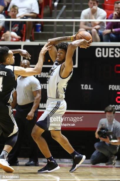 Joel Bolomboy of the Utah Jazz looks to pass the ball against the San Antonio Spurs on July 3 2017 at Jon M Huntsman Center in Salt Lake City Utah...