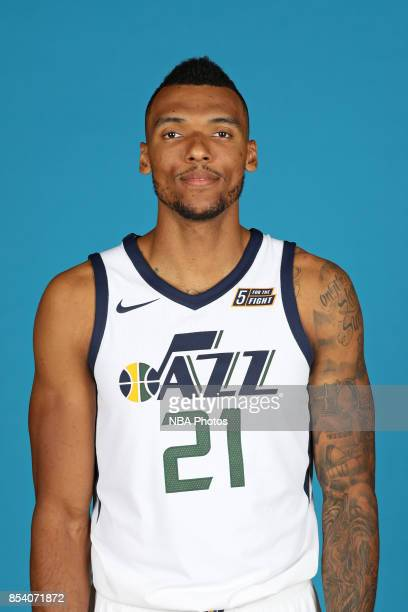 Joel Bolomboy of the Utah Jazz poses for a head shot during media day at Zions Bank Basketball Center on September 25 2017 in Salt Lake City Utah...