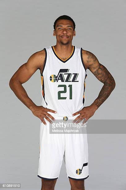 Joel Bolomboy of the Utah Jazz poses for a photo during the 20162017 Utah Jazz media day at Zions Bank Basketball Center on September 26 2016 in Salt...