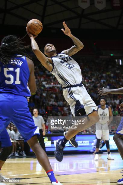 Joel Bolomboy of the Utah Jazz shoots the ball against the Philadelphia 76ers on July 5 2017 during the 2017 NBA Utah Summer League game at the Jon M...