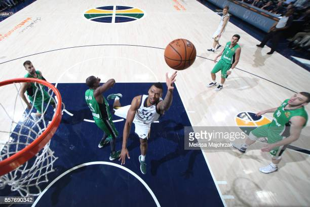 Joel Bolomboy of the Utah Jazz shoots the ball against the Maccabi Haifa during a preseason game on October 4 2017 at vivintSmartHome Arena in Salt...
