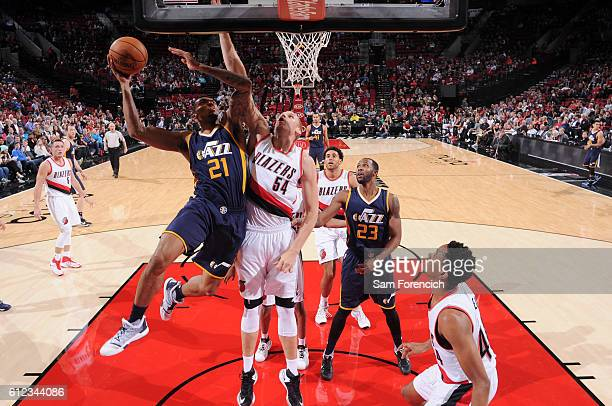 Joel Bolomboy of the Utah Jazz shoots the ball against the Portland Trail Blazers during a preseason game on October 3 2016 at the Moda Center in...