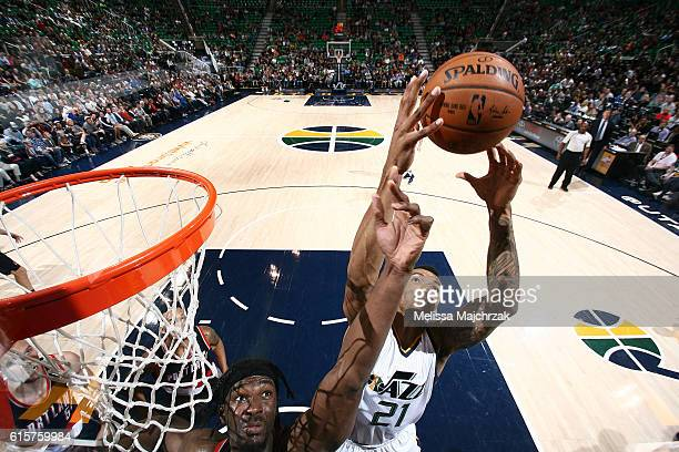 Joel Bolomboy of the Utah Jazz shoots the ball against the Portland Trail Blazers on October 19 2016 at vivintSmartHome Arena in Salt Lake City Utah...