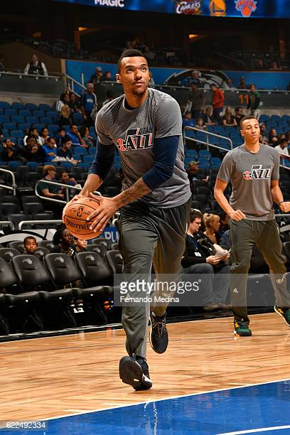 Joel Bolomboy of the Utah Jazz warms up before a game against the Orlando Magic on November 11 2016 at the Amway Center in Orlando Florida NOTE TO...