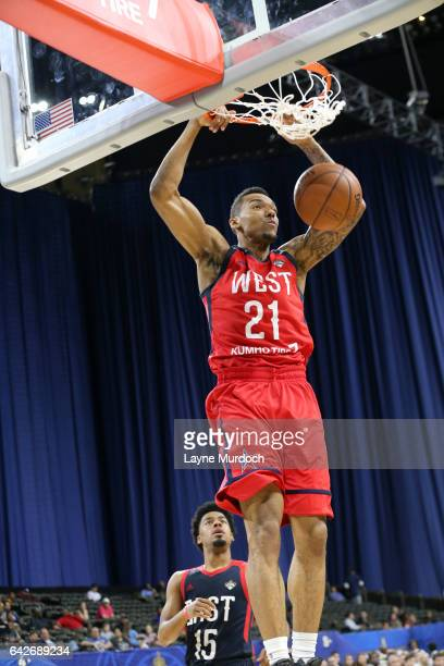 Joel Bolomboy of the West Team dunks during the NBA DLeague AllStar Game presented by Kumho Tires as part of 2017 AllStar Weekend on February 18 2017...