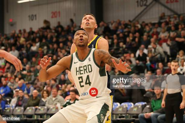 Joel Bolomboy of the Wisconsin Herd boxes out during the game against the Fort Wayne Mad Ants on FEBRUARY 21 2018 at the Menominee Nation Arena in...