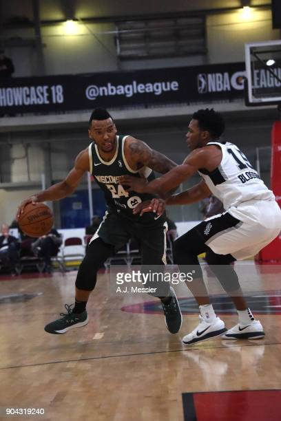 Joel Bolomboy of the Wisconsin Herd handles the ball against the Austin Spurs during the GLeauge Showcase on January 12 2018 at the Hershey Centre in...