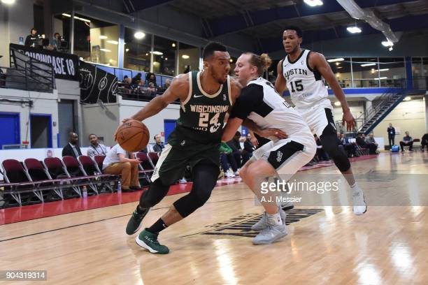 Joel Bolomboy of the Wisconsin Herd handles the ball against the Austin Spurs during the GLeague Showcase on January 12 2018 at the Hershey Centre in...