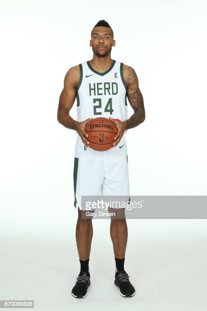Joel Bolomboy of the Wisconsin Herd poses for a portrait during the NBA GLeague media day at the Oshkosh Convention Center on November 3 2017 in...