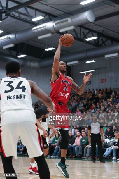 Joel Bolomboy of the Wisconsin Herd shoots the ball against the Raptors 905 on March 3 2018 at the Menominee Nation Arena in Oshkosh Wisconsin NOTE...