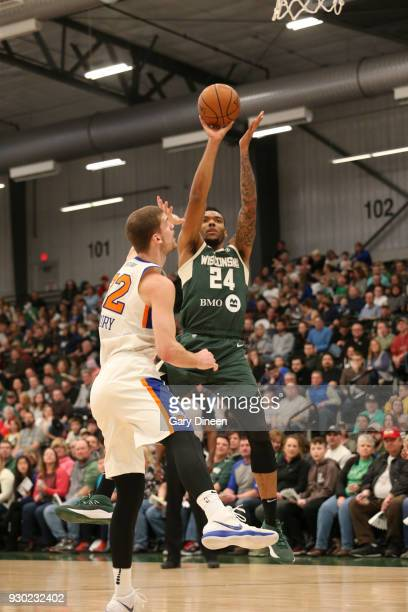 Joel Bolomboy of the Wisconsin Herd shoots the ball against the Westchester Knicks on March 10 2018 at the Menominee Nation Arena in Oshkosh...