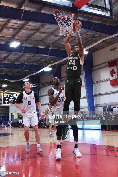 Joel Bolomboy of the Wisconsin Herd shoots the ball against the Austin Spurs during the GLeauge Showcase on January 12 2018 at the Hershey Centre in...