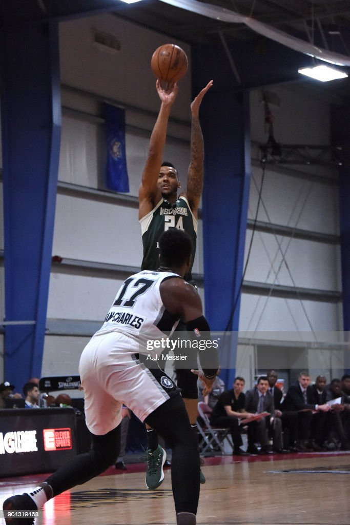 Joel Bolomboy #24 of the Wisconsin Herd shoots the ball against the Austin Spurs during the G-League Showcase on January 12, 2018 at the Hershey Centre in Mississauga, Ontario Canada.